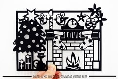 Cat Christmas Paper Cut SVG / DXF / EPS Files Product Image 1
