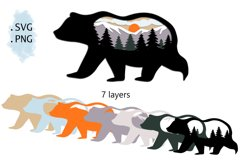 3D Layered SVG -Multilayered SVG Bear- Layered SVG Animal Product Image 2