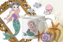 MERMAIDS Sea Tropical Color Vector Illustration Set Product Image 4