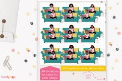 Book club girl clipart, book reading woman - LVY40 Nia Product Image 2