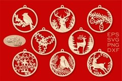 Christmas Tree Decorations. Christmas Bauble. Laser cut SVG Product Image 1