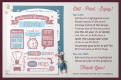 BIRTH ANNOUNCEMENT template|GOOGLE edit|Baby Stats printable Product Image 5