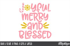Joyful Merry And Blessed, Christmas, SVG, PNG, DXF, Cut File Product Image 1