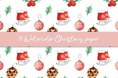 Watercolor Christmas digital paper, seamless pattern Product Image 2