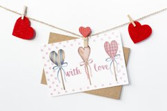 Watercolor set of textile hearts Product Image 5