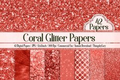 42 Living Coral Glowing Glitter Sequin Digital Papers Product Image 2