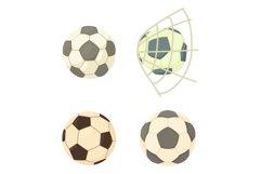 Soccer ball icon set, cartoon style Product Image 1
