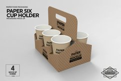 Paper Six Cup Carrier/Holder Packaging Mockup Product Image 5