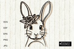 Happy Easter bunny SVG, Rabbit face with flower crown Cricut Product Image 2