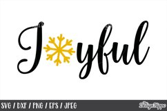 Joyful, Christmas, SVG, Snowflake, PNG, DXF, Cricut Cut File Product Image 1