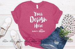 Heather Raspberry Bella Canvas 3001 T Shirt Mockup Product Image 1