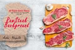 20 Photos Raw beef steaks on cutting Board. Backgrounds Product Image 1