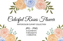 Colorful Rose Flower Watercolor Clipart Collection Product Image 1