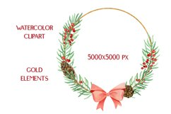 Christmas Watercolor Gold Frames Clipart Product Image 4