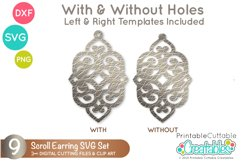 Scroll Earring SVG Files | Leather Earrings Templates Product Image 2