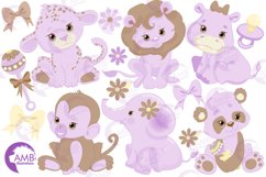Jungle Babies in lavender clipart, AMB-1212 Product Image 4