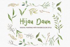 Hijau Daun - Digital Watercolor Floral Flower Style Clipart Product Image 1