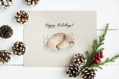 Watercolor Christmas Deers Cliparts Product Image 5