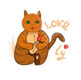 Festive cat with love heart and rose in its paws/clipart Product Image 3
