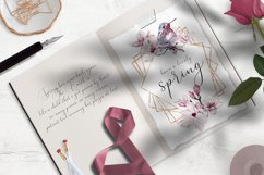Watercolor Floral Rose Gold Frame Birds Geometric Frame PNG Product Image 3