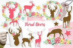 Floral Deers graphics and illustrations Product Image 1