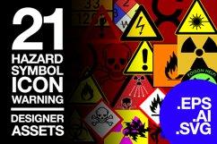 21 Hazard Symbols Warning Standard in SVG AI EPS Product Image 1