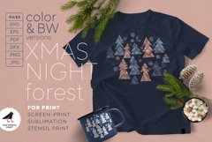 Christmas night forest - sublimation, stencil, screen-print Product Image 1
