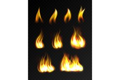 Realistic fire flames set Product Image 1