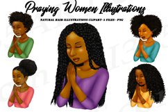 Praying Woman African American Natural Hair Clipart PNG Product Image 1
