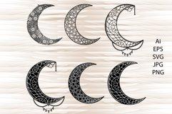 Moon mandala, mandala svg, zentangle svg Product Image 1