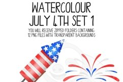 Watercolor July 4th Clip Art Set Product Image 4