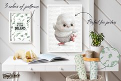 White owl clipart collection. Animal portrait. Floral frame. Product Image 5