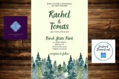 Watercolor Wooded Forest Wedding Invitation Product Image 6