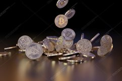 6  files - 3D rendering Bitcoins falling on a pile Product Image 6