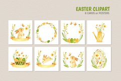 Easter Bunny - watercolor clipart, seamless patterns & cards Product Image 3