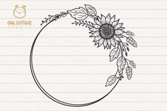 Sunflower Fall Wreath svg, floral monograms mini bundle Product Image 4