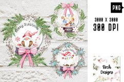 Christmas Holiday Wreath Designs with Gnomes and Mice Product Image 1
