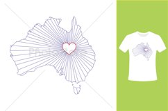 I Love Australia, Country Map Silhouette Product Image 5
