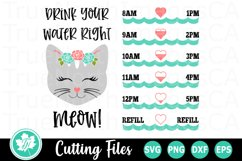 Drink You Water Right Meow - A Water Tracker SVG Cut File Product Image 1