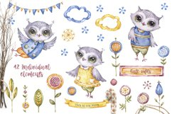 Cute owls clipart. Watercolor collection with floral forest Product Image 2
