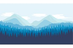 Beautiful view of mountains and forest. Flat design vector Product Image 1