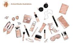 Cosmetics Set Clipart, Make up eps, fashion leopard makeup Product Image 1