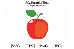 apple SVG - Cute fruit SVG, EPS, PNG and JPG Product Image 1