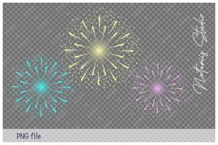 Santa Claus, Reindeer and Snowman watching the Fireworks. Product Image 6
