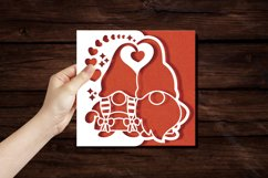 Papercut Romantic Gnome Couple with Hearts Card Cover Design Product Image 4