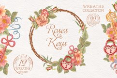 Watercolor wreaths set. Roses & keys Product Image 1