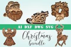 Christmas bundle 5 designs 3d layered mandala zentangle svg Product Image 1