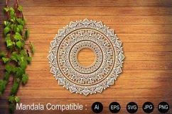 Mandala White Flower Sublimation Design SVG PNG JPG EPS Product Image 1
