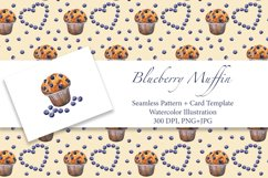 Blueberry Muffin. Watercolor pattern and card, JPG, PNG Product Image 1