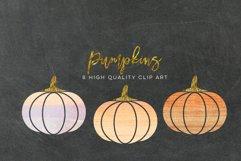 WATERCOLOR pumpkin clip art, Orange Pumpkin digital clipart, Pink Pumpkin clipart, Fall Pumpkin digital clip art, Watercolor Pastel Pumpkins Product Image 2